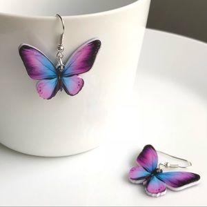 Jewelry - NEW Acrylic Purple Butterfly Earrings
